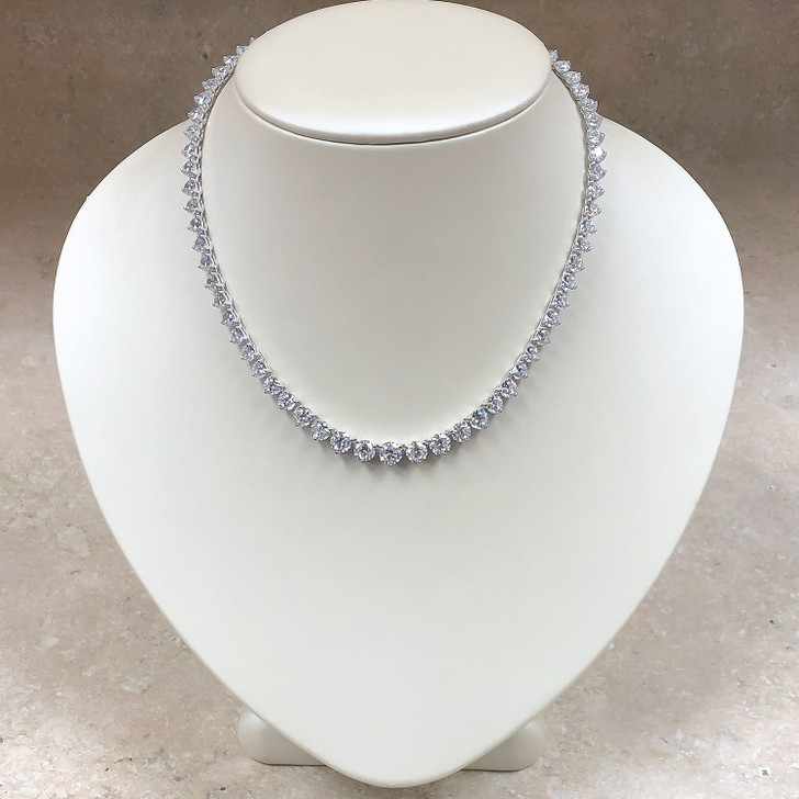 Graduated Round CZ Tennis Necklace 16-inches, 29.0 Ct TW