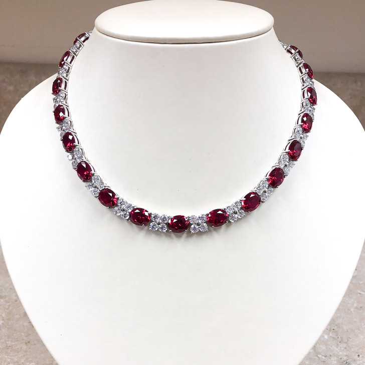 Pamela 2.5 Carat Each Lab Ruby Ovals Necklace, 16-inches
