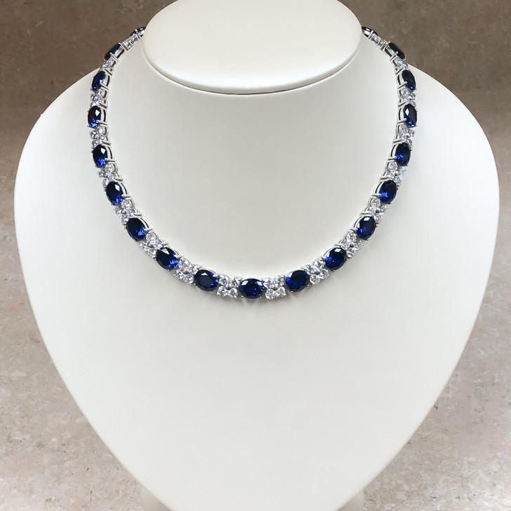 Pamela 2.5 Carat Each Lab Sapphire Ovals Necklace, 16-inches