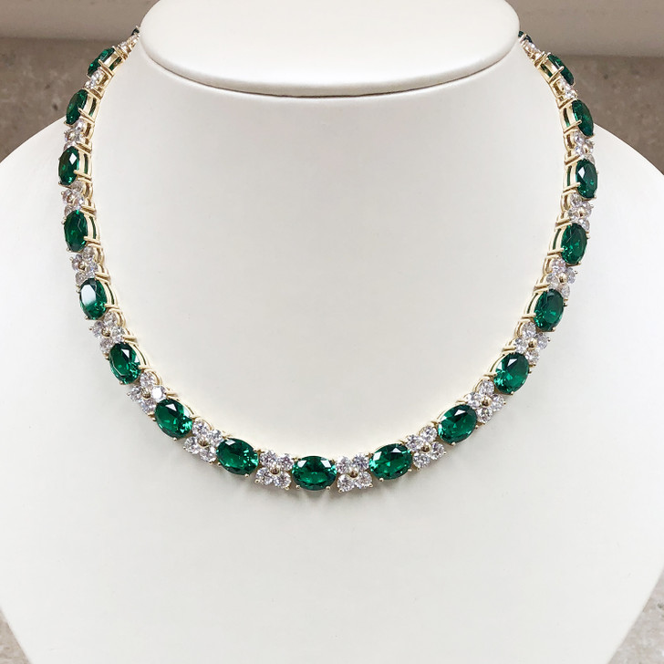 Pamela 2.5 Ct Each Green Emerald Look Ovals Necklace, 16-inches in Yellow Gold