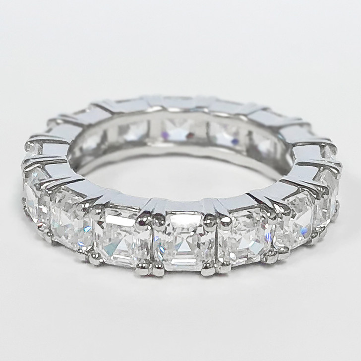 Platinum Asscher Prong Set Cubic Zirconia Eternity Band, Size 5.75