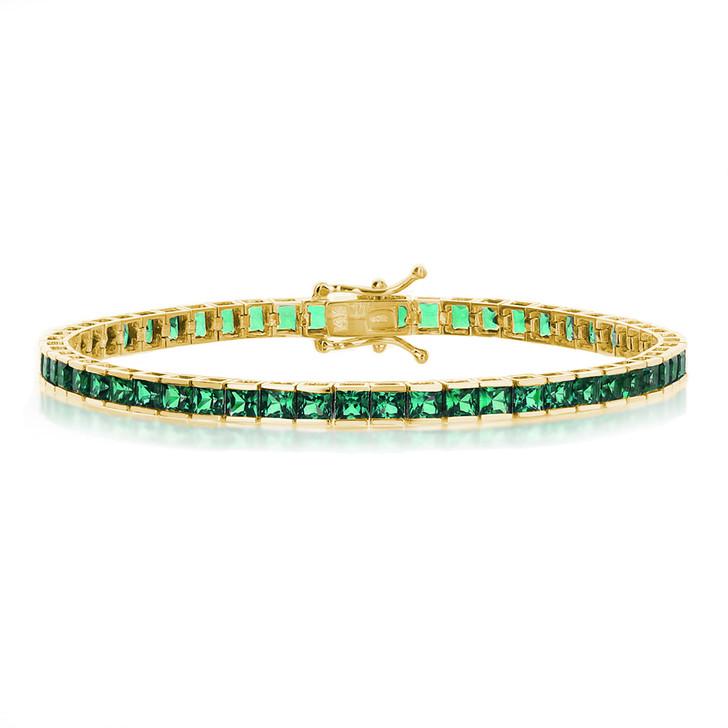 Winston Small Channel Set Princess Cut Simulated Green Emerald Tennis Bracelet