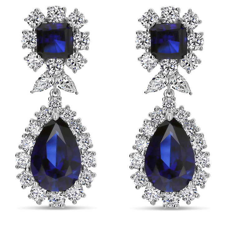 Chicago Lab Sapphire Princess Cut & Pears with Rounds Halo Drop Earrings