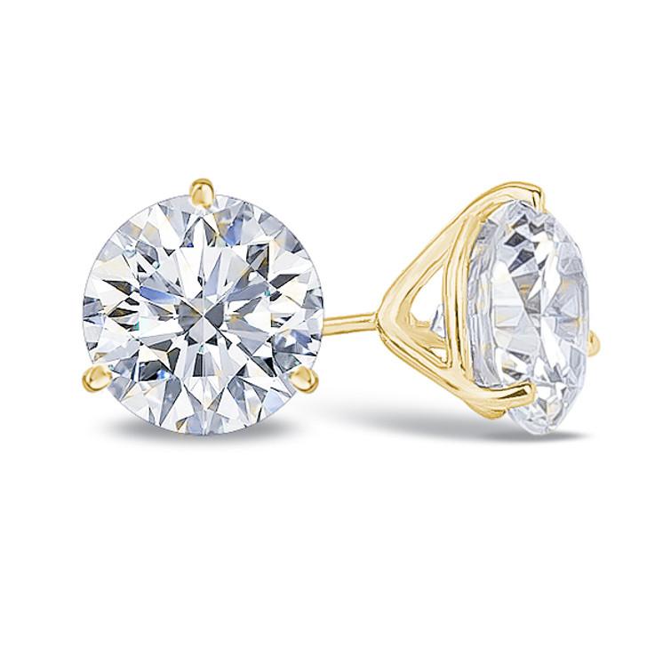 14K yellow gold cubic zirconia round martini stud earring