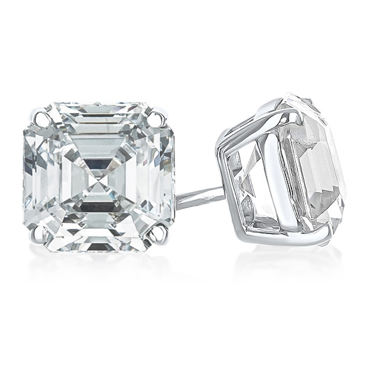 4.0 Carat Each Asscher Cut Cubic Zirconia Stud Earrings, 8.0 CTW