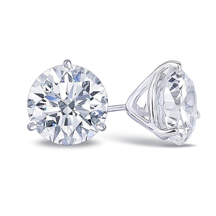 3.5 Carat Each Martini 3 Prong Round CZ Stud Earrings in 14K White Gold
