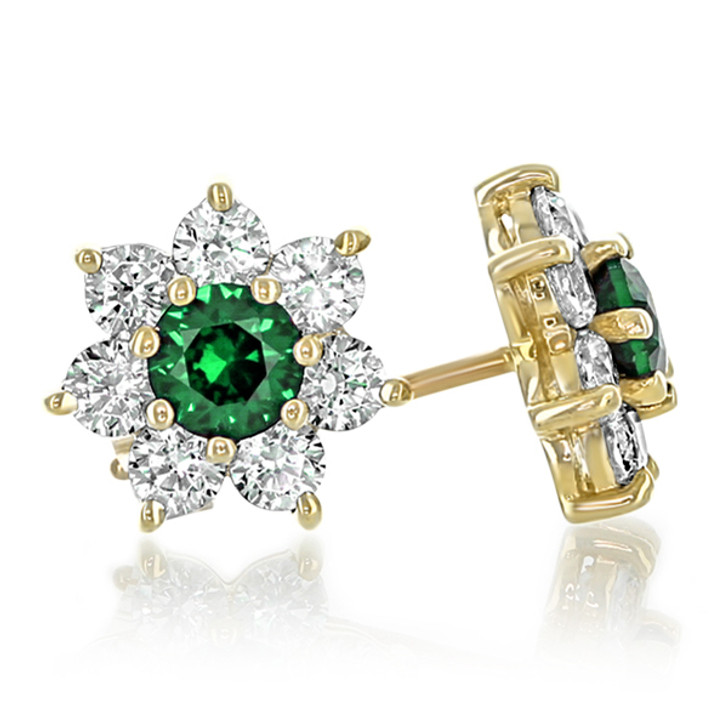 Abby Round Simulated Green Emerald Flower Earrings, 1.0 Carat Total