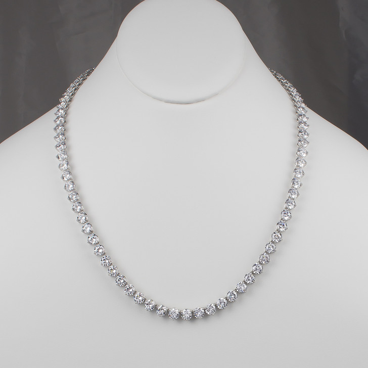 Manhattan 1.0 Ct Each Rounds Opera Length Riviera Tennis Necklace, 24 inches