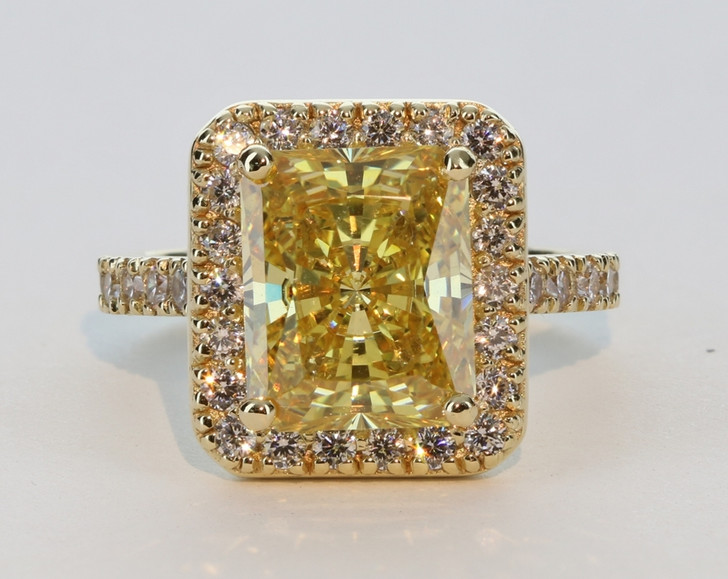 5.5 Carat Canary Starburst Emerald Cut CZ Halo Solitaire Palm Beach Collection