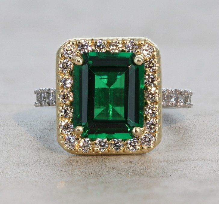 5.5 Carat Simulated Emerald with CZ Halo Solitaire Palm Beach Collection