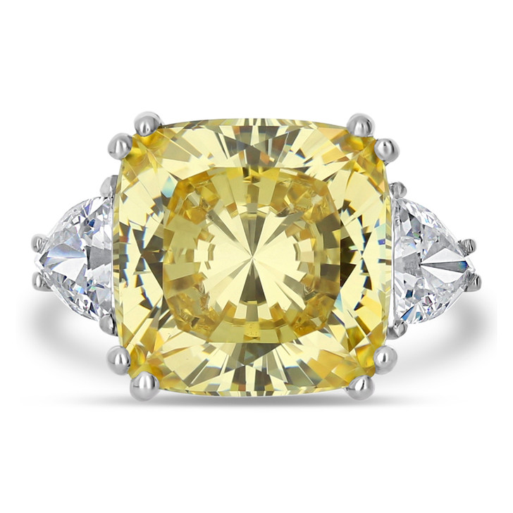 15.0 Carat Cushion Cut with Shields CZ Ring Palm Beach Collection
