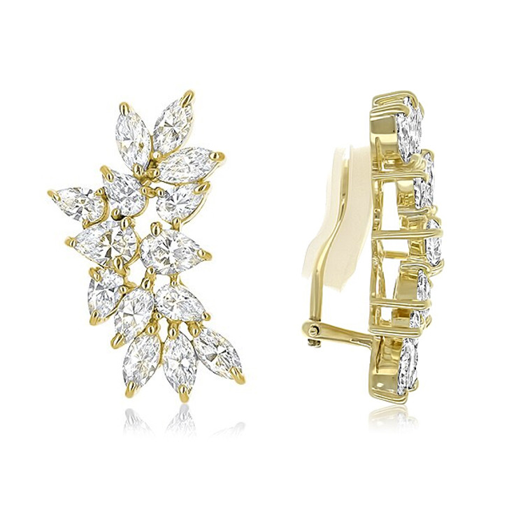 Cassandra Pear & Marquise Cluster CZ Earrings with Non Pierced Clips - Sale