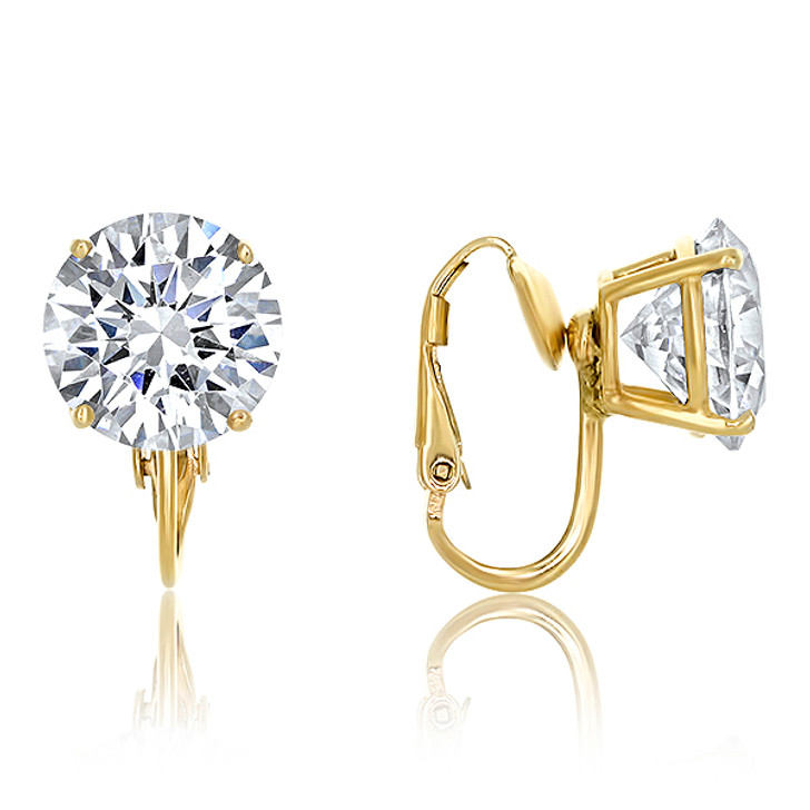 3.5 Carat Each Round CZ Studs with Non Pierced Button Style Clip in White Gold