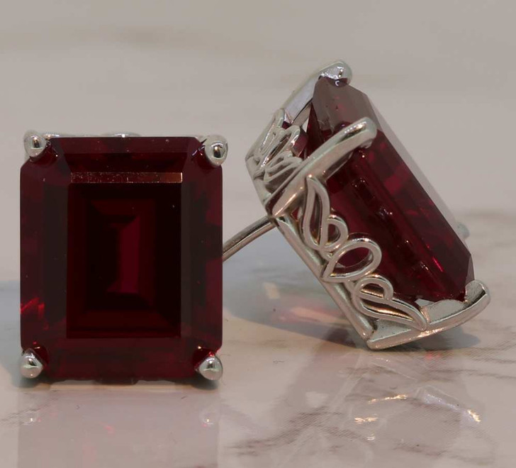 7.0 Carat Emerald Cut Red Ruby Stud Earrings with Scroll Setting One of a Kind