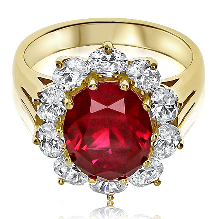 3.5 Carat Lab Ruby Oval with Ovals Cubic Zirconia Halo Cluster Ring
