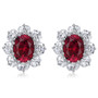 Oslo 1.5 Carat Oval with CZ Ovals Cluster Earrings, 5.0 Ct TW