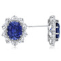 Oslo 3.5 Carat Oval with CZ Ovals Cluster Earrings, 10.0 Ct TW