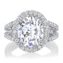 Madeline Oval Halo CZ Ring with Twin Prongs and Split Band
