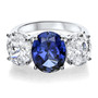 Hannah Ovals Three Stone Cubic Zirconia Ring, 6.5 Ct TW