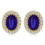 Cabochon Oval with CZ Rounds Halo Earrings, 31.25 Ct TW