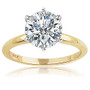 Round Classic Cubic Zirconia Solitaire Engagement Ring in 14K