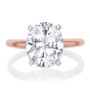 Rose oval cubic zirconia solitaire ring
