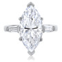 Marquise Cubic Zirconia Baguette Engagement Solitaire Ring