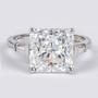 Princess Cut Cubic Zirconia Baguette Solitaire Engagement Ring