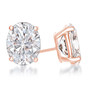 Oval Cubic Zirconia Earring Stud in 14K rose gold