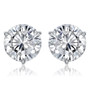 Martini 3 Prong Round Cubic Zirconia Stud Earrings