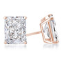 Starburst Radiant Emerald Cut Cubic Zirconia Earring Stud in 14K rose gold