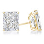 Starburst Radiant Emerald Cut Cubic Zirconia Earring Stud in 14K yellow gold