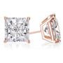 Cubic Zirconia Princess Cut Stud Earring in 14K rose gold