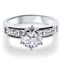 Quinn Round w/ Channel Princess Sides CZ Solitaire Ring