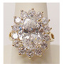 Diana Oval with Halo Rounds Cluster CZ Ring