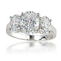 Hailey Three Stone Oval Cubic Zirconia Ring