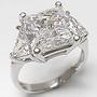 Princess Cut Square Three Stone Cubic Zirconia Trillion Ring