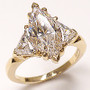 Marquise Center Three Stone CZ Trillion Ring