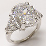 Oval Three Stone Cubic Zirconia Trillion Ring