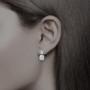 0.5 carat round top with 1.5 carat round drop snowman earrings cubic zirconia 14K gold