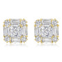Contessa CZ Princess Cut with Rounds & Baguettes Earring Studs