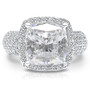 Candace CZ Cushion Cut Halo Ring with Wide Pave Band