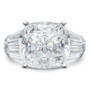 Cushion Cut with Triple Baguettes Solitaire Engagement Ring