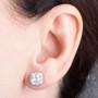 Christine Cushion Cut Halo CZ Stud Earrings