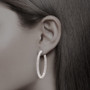 Solana Vault Lock Front Facing CZ Oval Shaped Earring Hoops, 6.0 Carats Total