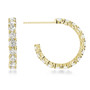 Sarah Small Prong Set Round Cubic Zirconia Hoop Earrings