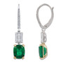 Augustine Emerald Cut with Elongated Cushion Pave Leverback Drops