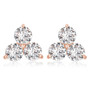 Trio of Rounds Three Stone Cubic Zirconia Cluster Earrings