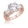 Karen Round with Double Baguettes Estate Style CZ Ring