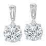 Bijou Baguette Top with Round Drop Cubic Zirconia Earrings